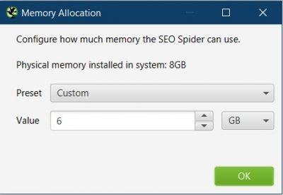 screaming frog memory allocation settings